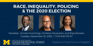 Photos of speakers at the Race, Inequality, Policing and the 2020 Election event